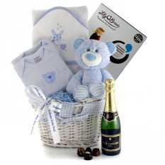 Hampers and Gifts to the UK - Send the New Baby Boy Celebration Gift Basket