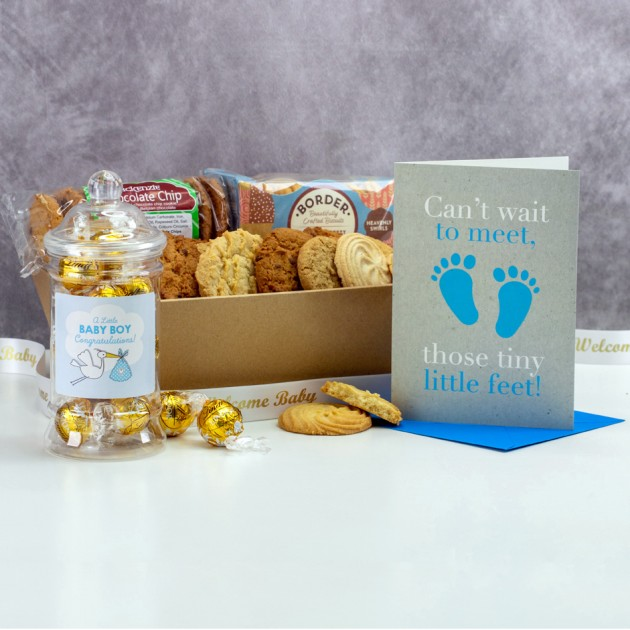 Hampers and Gifts to the UK - Send the New Baby Boy Cookies and Truffles