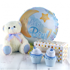 Hampers and Gifts to the UK - Send the It's A Boy Baby Balloon Onesie Cupcakes