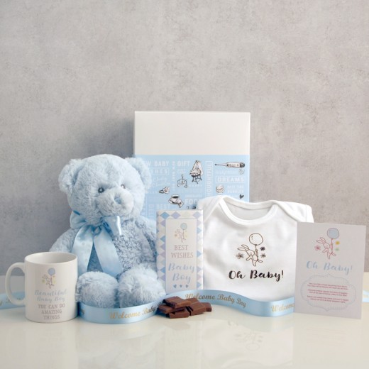 Hampers and Gifts to the UK - Send the Oh Baby! Blue Gift Set