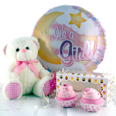 Hampers and Gifts to the UK - Send the It's A Girl Baby Balloon Onesie Cupcakes