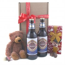 Valentine's Beer Teddy and Chocolates Personalised