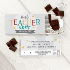 Hampers and Gifts to the UK - Send the Personalised Best Teacher Ever Chocolate Bar