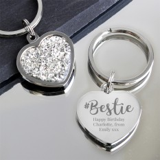 Hampers and Gifts to the UK - Send the Personalised Bestie Diamante Heart Keyring