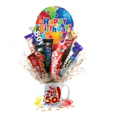 Hampers and Gifts to the UK - Send the You Made the Big 50 Birthday Chocolate Bouquet In A Mug