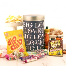Hampers and Gifts to the UK - Send the Big Love Tin with Retro Sweets Selection