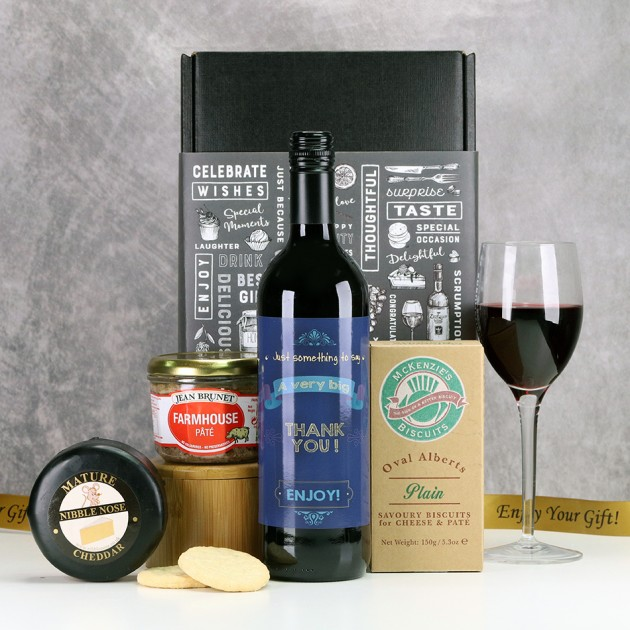 Hampers and Gifts to the UK - Send the A Very Big Thank You Cheese and Wine Gift Set