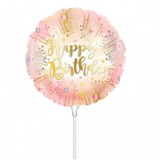Hampers and Gifts to the UK - Send the Birthday Rose Gold Mini Balloon