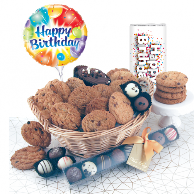 Hampers and Gifts to the UK - Send the Birthday Luxury Chocolates and Cookies Gift Basket