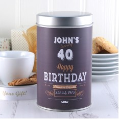 Hampers and Gifts to the UK - Send the Personalised Birthday Tin with a Dozen Cookies