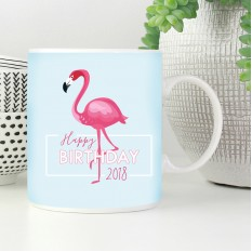 Hampers and Gifts to the UK - Send the Happy Birthday Flamingo Mug