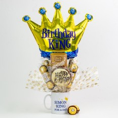 Hampers and Gifts to the UK - Send the Personalised Any Name Birthday King Chocolate Bouquet