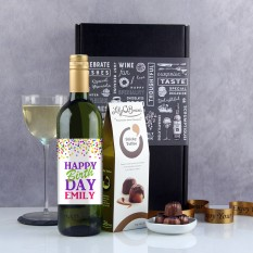 Hampers and Gifts to the UK - Send the Personalised Confetti Birthday Wine Gift