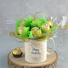 Hampers and Gifts to the UK - Send the Happy Birthday Ferrero Rocher Mug Bouquet