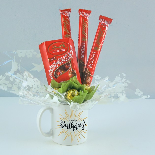 Hampers and Gifts to the UK - Send the Happy Birthday Mug with Lindor Truffles