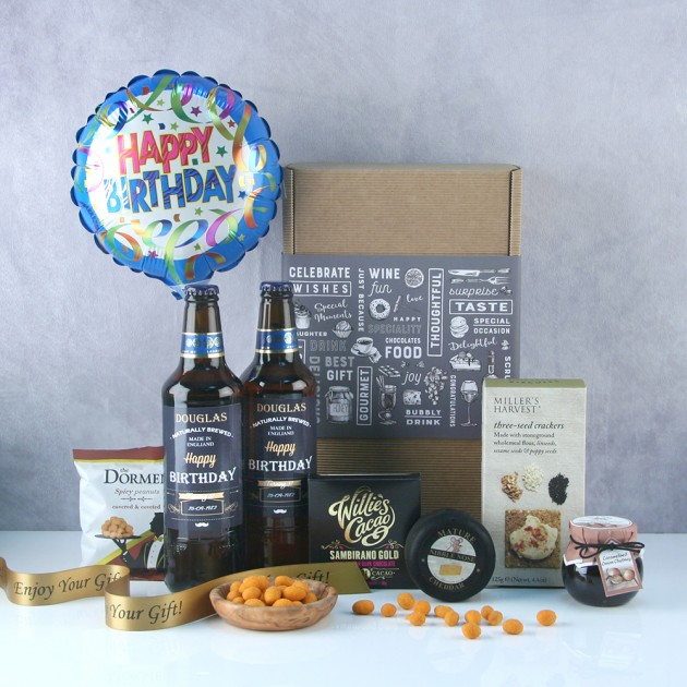 Hampers and Gifts to the UK - Send the Personalised Birthday Beer and Snacks Hamper