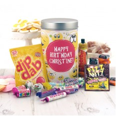 Hampers and Gifts to the UK - Send the Retro Sweets Tin - Birthday Smiley Faces