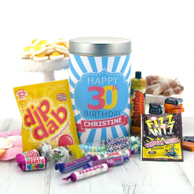 Hampers and Gifts to the UK - Send the Retro Sweets Birthday Tin