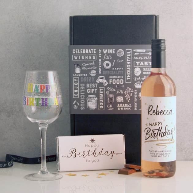 Hampers and Gifts to the UK - Send the * OUT OF STOCK * Personalised Birthday Wine and Chocolates Hamper