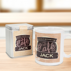 Hampers and Gifts to the UK - Send the Personalised Any Name Bistro Tin & Mug Set