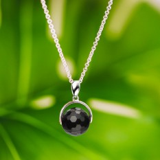 Hampers and Gifts to the UK - Send the  Black Chalcedony Ball Necklace