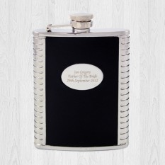 Hampers and Gifts to the UK - Send the Black Leather Hipflask Engraved