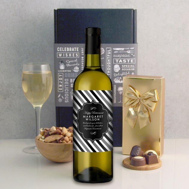 Hampers and Gifts to the UK - Send the Personalised Classic Black and White Label Wine Gift