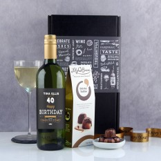 Hampers and Gifts to the UK - Send the Personalised Retro Black Birthday Wine Gift