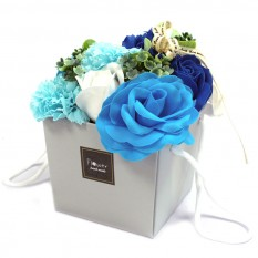 Hampers and Gifts to the UK - Send the Soap Flower Bouquet - Blue Roses & Carnations