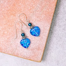 Hampers and Gifts to the UK - Send the Blue Heart Millefiori Drop Earrings
