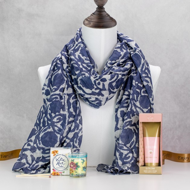 Hampers and Gifts to the UK - Send the Denim Blue Scarf with Bohemia Floral Scents