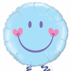 """Hampers and Gifts to the UK - Send the Smile Face Blue 18"""" Foil Balloon"""