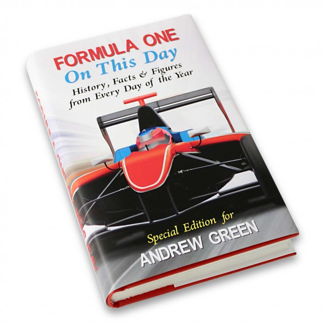 Hampers and Gifts to the UK - Send the Personalised Formula 1 On This Day Book