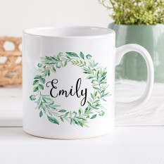 Hampers and Gifts to the UK - Send the Personalised Botanical Wreath Mug