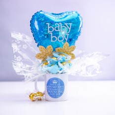 Hampers and Gifts to the UK - Send the Bouncing Baby Boy Chocolate Mug Bouquet