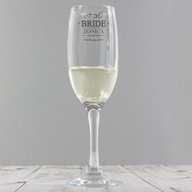 Hampers and Gifts to the UK - Send the Personalised Bride Glass Champagne Flute