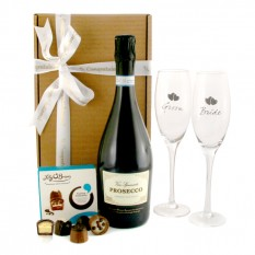 Hampers and Gifts to the UK - Send the Bride and Groom Prosecco and Chocolates Gift