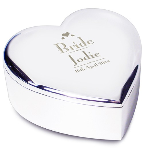 Hampers and Gifts to the UK - Send the Engraved Silver Heart Trinket Box for a Bride