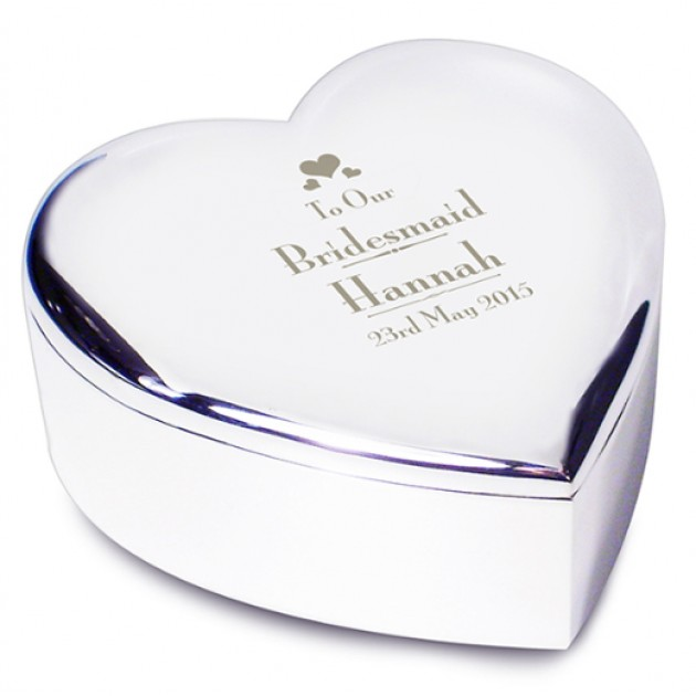 Hampers and Gifts to the UK - Send the Engraved Silver Heart Trinket Box for a Bridesmaid