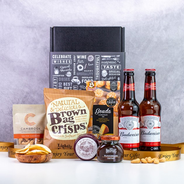 Hampers and Gifts to the UK - Send the Budweiser Lager & Savouries Gift Box