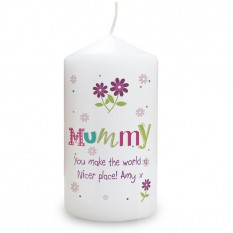Hampers and Gifts to the UK - Send the Personalised Patchwork Flower Candle