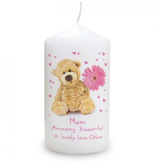 Hampers and Gifts to the UK - Send the Personalised Teddy Flower Candle