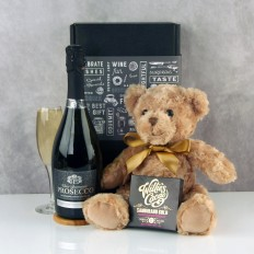 Hampers and Gifts to the UK - Send the Prosecco and Chocolates with Teddy Bear