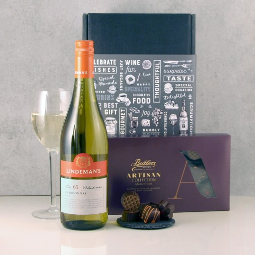 Hampers and Gifts to the UK - Send the Chardonnay Wine Chocolates Gift Box