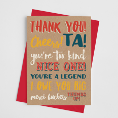 Hampers and Gifts to the UK - Send the Thank You! Cheers! Ta! Greeting Card