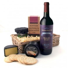 Hampers and Gifts to the UK - Send the A Very Big Thank You Cheese and Wine Hamper Gift Basket
