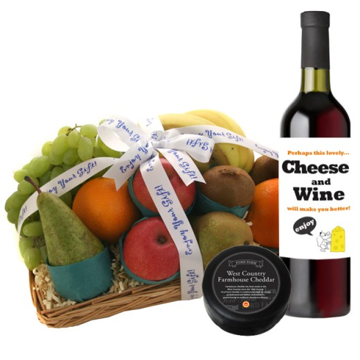 Hampers and Gifts to the UK - Send the Feel Better Fruit Basket with Wine