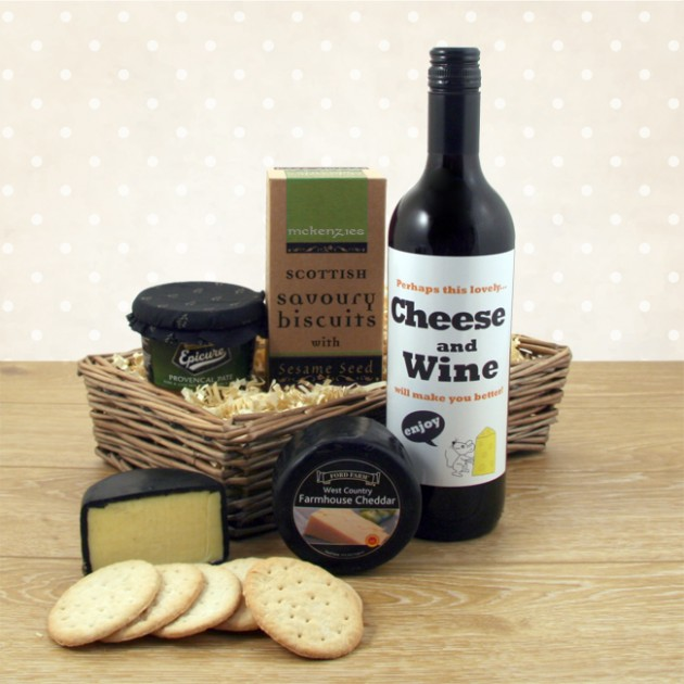 Hampers and Gifts to the UK - Send the Feel Better with Cheese and Wine Hamper