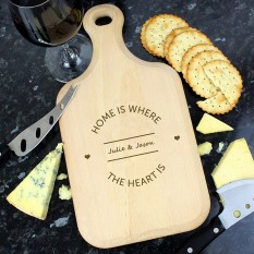 Hampers and Gifts to the UK - Send the Home Is Where The Heart Is Personalised Cheese Board