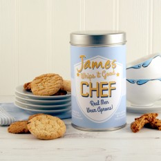 Hampers and Gifts to the UK - Send the Personalised Cookie Tin for a Chef